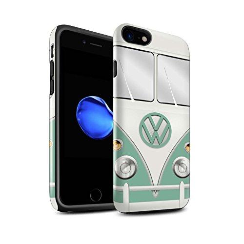 STUFF4 Glanz Harten Stoßfest Hülle / Case für Apple iPhone 7 / Fjord Blau Muster / Retro T1 Wohnmobil Bus Kollektion Türkisgrün