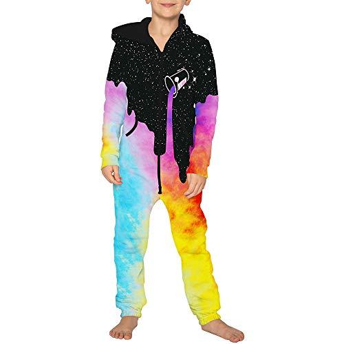 Jumpsuit Jogger für die Ganze Familie, Morbuy Unisex Junge Mädchen Kapuzenpullover Strampelanzug 3D Creative Printed Onepiece Sweatshirt Strampler Nachtwäsche (Erwachsener L,Regenbogen)