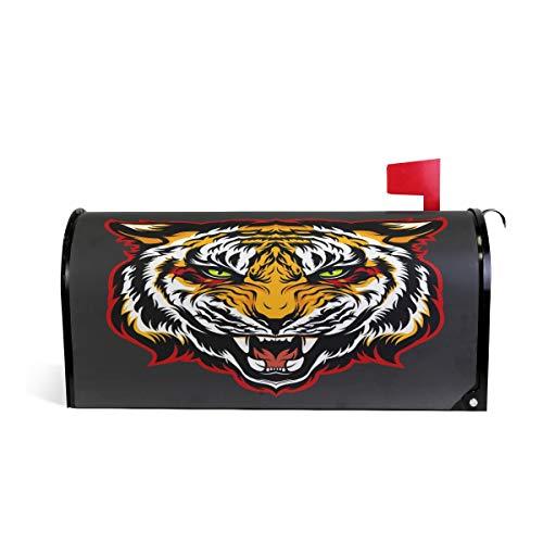 (Wamika Wütender Tiger Kopf-Maskottchen Briefkasten, wetterfest, magnetisch, verblasst/wetterfest, Schwarz, 64,7 x 52,8 cm)