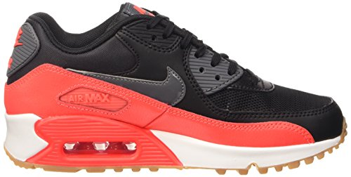 Nike Wmns Air Max 90 Essential Scarpe da ginnastica, Donna Multicolore (Black/Dark Grey-Brght Crmsn-Sl)