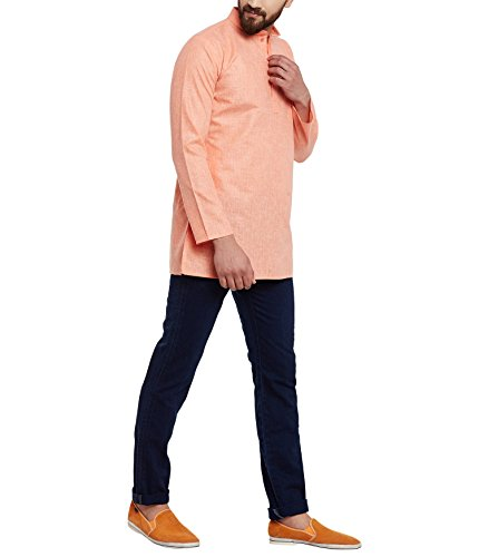 Royal Sojanya Men's Cotton Linen Blend X-Large Orange (Linen-blend Top T-shirt)