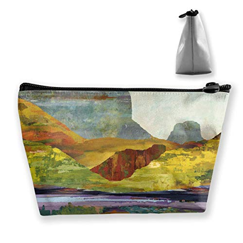 Mountain Forest River Reflection Painting Makeup Bag Large Trapezoidal Storage Travel Bag Wash Cosmetic Pouch Pencil Holder Zipper -