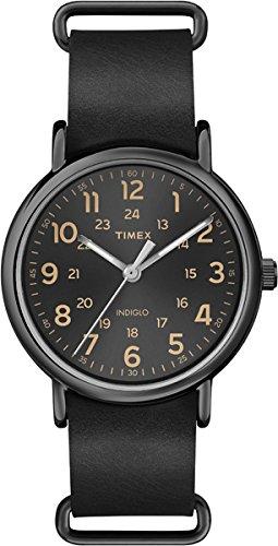 Timex T2P494 Orologio da Polso, Quadrante Analogico Unisex, Cinturino in Pelle, Colore Nero