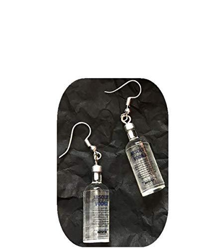 WDTong Vodka-Flasche Anhänger Baumeln Ohrringe Damen, Lustige Handgemachte Simulation Ohrstecker Schmuck