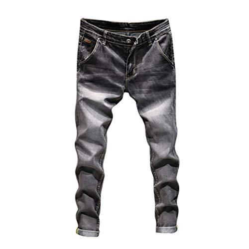UFACE Herren Denim Baumwolle Vintage Wash Hip Hop Arbeitshose Jeans Hosen Lässige Jeans Hosen(Schwarz,32)