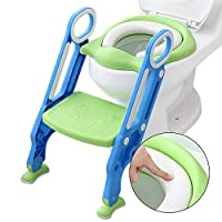 Fewao Potty Training Seat with Step Stool Ladder,Toddler Kid Children's Toilet Training Seat Chair with Soft Padded Seat Splash Guard and Sturdy Non-Slip Wide Step