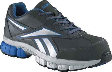 Reebok Mens Grey/Blue Suede Mesh Athletic Oxford Ketia Composite Toe 13 M Composite-toe Eh Oxford