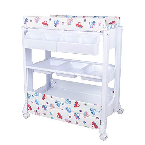 Wickeltische kommoden Baby Wickeltisch Station Kleinkinder Massage Bett, tragbare Wechsler Baby Storage Badewanne Einheit Kommode mit Rädern -