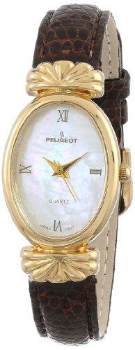 Peugeot Femmes 712-6 Or montre de ton bracelet en cuir brun