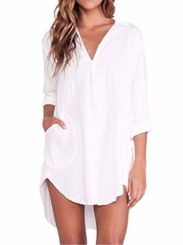 ZANZEA Le donne di Colore solido Manica lunga con Scollo a V diTasca della camicia camicette in chiffon Tops bianco IT 48-50