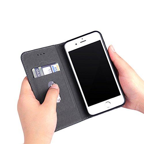 AddGuan Apple iPhone 7 Case,PU Cuoio Alta Qualità[Carta Slot][chiusura magnetica][Creative Foldable Stand]Clamshell Adatto Per Apple iPhone 7 Case (Marrone) Nero