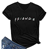 SELECTEES Women Friends V-neck T Shirts Graphic Teen Girls Cute Tops Black Small