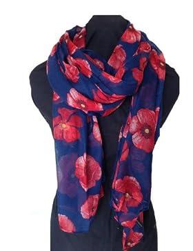 Pañuelo largo y suave azul marino amapolas moda mujer Londres