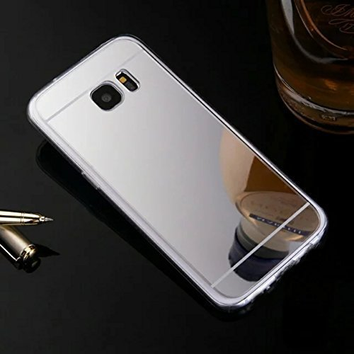 Uposao Spiegelhülle - Mirror Case für Samsung Galaxy S6 Edge Plus, Hülle Silikon Transparent Durchsichtig Handy Hülle für Samsung Galaxy S6 Edge Plus, Überzug Mirror Spiegel Spiegelnd Make Up Silikon