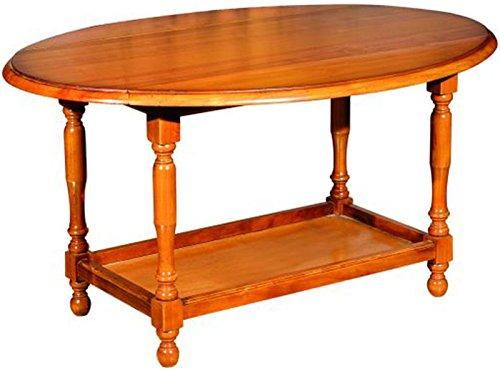 PEGANE Table basse en bois massif avec 2 abattants teinte merisier