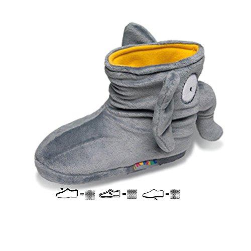 SAMs Kinder Plüsch Tier Hausschuhe Elefant Boots Gr. 29-35 hochwertig weich goldig Kuscheltier, TH-ELBO Grau