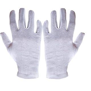 12 Paar Baumwoll Trikot Handschuhe Baumwollhandschuhe weiß gebleicht Trikothandschuhe Größe: Medium (mittel) 8