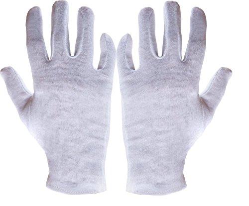 12 Paar Baumwoll Trikot Handschuhe Baumwollhandschuhe weiß gebleicht Trikothandschuhe Größe: Medium (mittel) 9 (Baumwoll-handschuh)