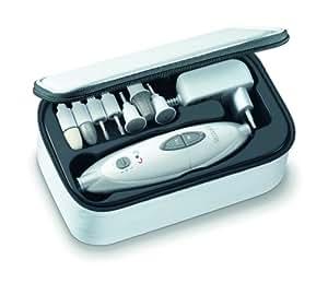 Sanitas SMA 35 elektrisches Maniküre-/ Pediküre-Set, mit 7 Nagelpflege-Aufsätzen, weiß/silber