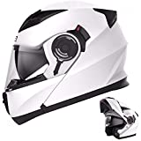 CRUIZER-casco Modular para moto Blanco brillante homologado con Doble visera y TOMAS de aire en...