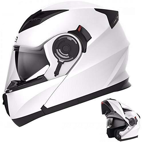 CRUIZER - Casco per moto omologato modulare bianco lucido, con doppia visiera e prese d'aria sulla calotta e mentoliera (M)