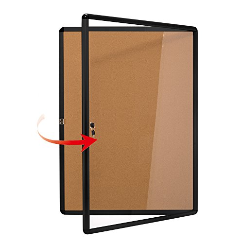 Swansea Whiteboard, magnetisch, abschließbar 4xA4(26 * 20inch) Cork Bulletin Board (Black)