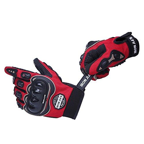 IRON JIA'S Guantes de motos motocicleta para carreras todo terreno, guantes de moto para pantallas táctiles resistentes a caídas (XL, Red)