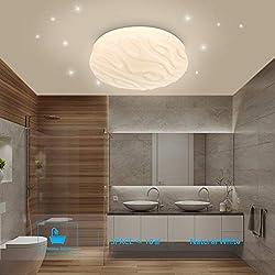 Plafonnier LED Salle de bain Cuisine Chambre Lampe Plafond LED Salon Salle à manger Balcon Couloir Ronde Moderne Plafonniers Imperméable Blanc Naturel 4000K 18W 1500lm LUSUNT