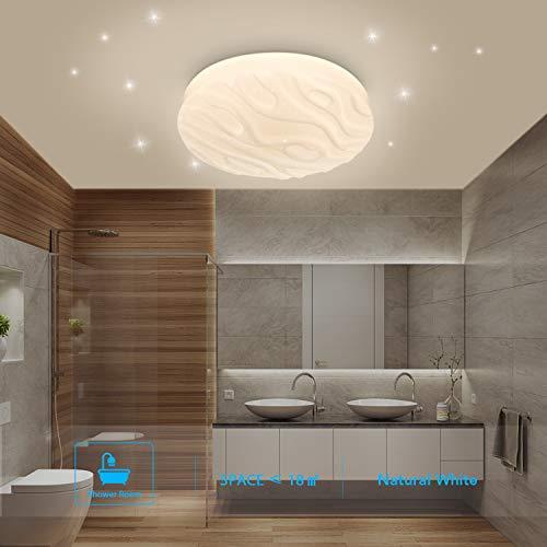 Deckenleuchte LED Badezimmer Küche Schlafzimmer Lampe Decke LED Bad Wohnzimmer Esszimmer Arbeitszimmer Balkon Korridor Flur Runde Wasserdicht Moderne Deckenleuchten Naturweiß 4000K 18W 1500lm LUSUNT