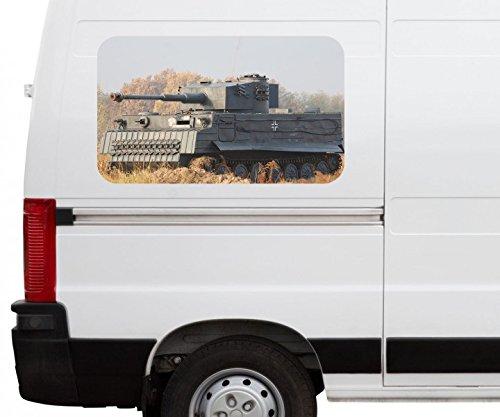 Autoaufkleber Panzer Tank Waffe Krieg schießen Car Wohnmobil Auto tuning Digital Druck Fenster Sticker LKW Bild Aufkleber 21B536, Größe 3D sticker:ca. 161cmx 96cm (Waffe Anhänger Fett In Für Eine)