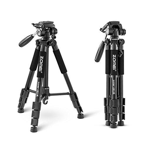 Zomei Stativ Dreibeinstativ Fotostativ - Einstellung Leicht der Beinlänge - Sicherer Video Stand - Kompaktes Reisestativ Packmaß 50cm Gewicht 1.2kg - Black