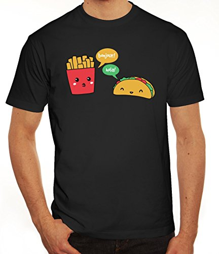 Lustiges Herren T-Shirt mit Taco Pommes Motiv von ShirtStreet Schwarz