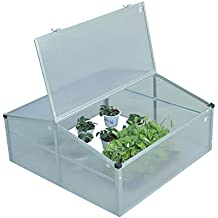 Outsunny Outdoor 2 Level Adjustable Roof Cold Frame Greenhouse Grow House Flower Vegetable Planting Storage Aluminium Frame 100L x 100W x 48H (cm)