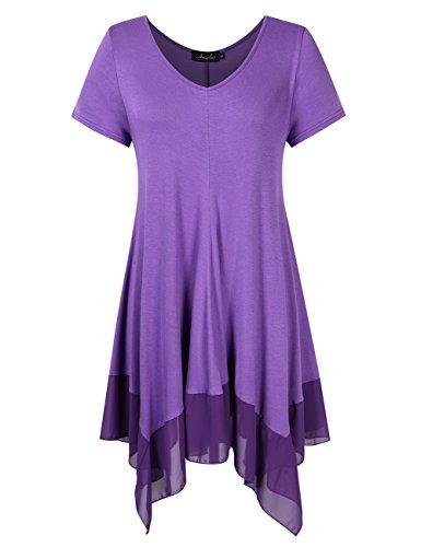 KoJooin Bekleidung Damen Kurzarmshirt Plus Size Asymmetrisches Casual Tshirt Lange Damen Bluse Lila 4XL