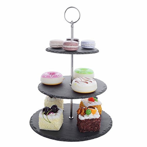 "MALACASA, Series Sweet.time, 14.5"" Tall 3 Tier Round Stone Cake Stand 6""&8""&10"" Natural Slate Serving Set with Silver Carry Handle"