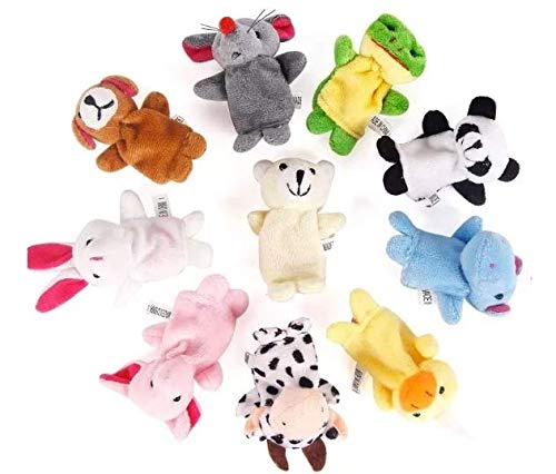 Soft Plush Animal Finger Puppets Set Baby Story Time Velvet Animal Style for Toddlers