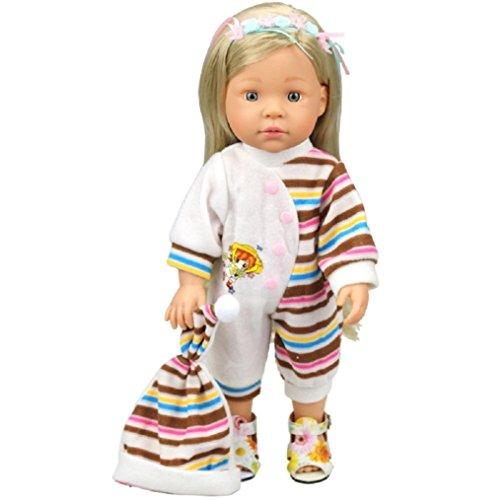 cinnamou Striped Strampler für 18-Zoll-American Girl Doll, niedliche Baby-Spielzeug von Overall Pyjamas Outfits mit Hut