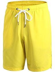 pantalones cortos de baloncesto de formación aptitud de los hombres sueltos, pantalones cortos de cortocircuitos ocasionales de secado rápido 7054 , yellow , xxl