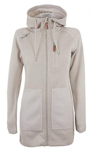 Twentyfour Damen Strick Fleece Mantel Finse - Lange Strickfleece Jacke mit Kapuze, warm und bequem - Limited Edition, weiß-graumeliert, 38, 476180 (Fleece-yoga)