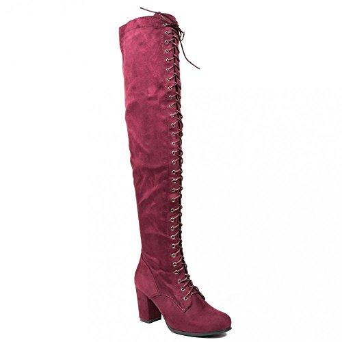 Ideal Shoes, Damen Stiefel & Stiefeletten Rot