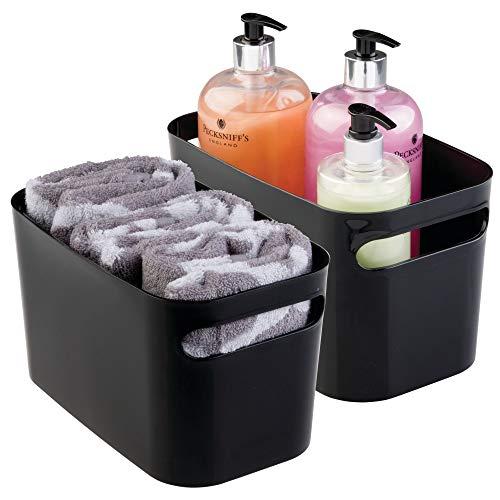 mDesign panier de rangement pour salle de bain en plastique (lot de 2) – bac de rangement pour produits de maquillage, shampoing, lotion, parfum, etc. – boîte de rangement pour serviettes – noir