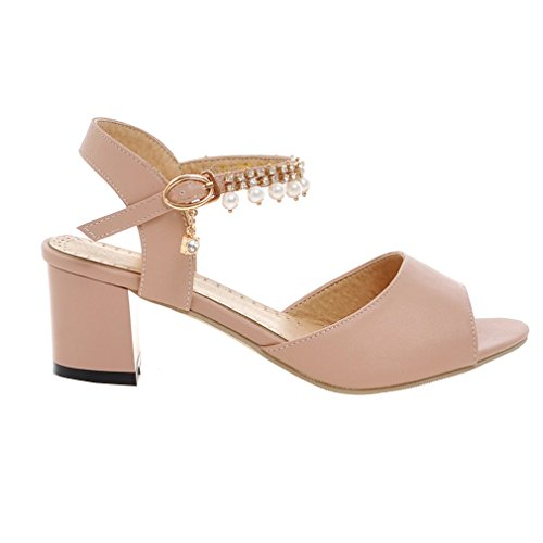 6c1723801e34aa YE Damen Offen Knöchelriemchen Blockabsatz High Heel Sandalen mit Strass  und Perle Süß 6cm Absatz Pumps ...