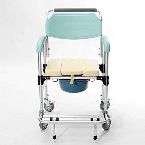 ASGDVJFGSD Rollstuhl Elder Klappstuhl 3-in-1 Kommode Nachttisch WC & Duschsitz Badezimmer Rollstuhl Aluminiumlegierung Wasserdicht -