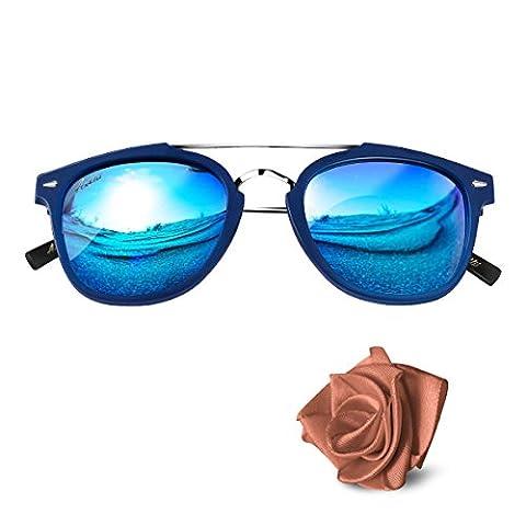 Aiblii Unisex Mirror Lens Uv400 Retro frame Polarized Sunglasses - Vintage Round Metal Wayfarer Sunglasses For Men and Women