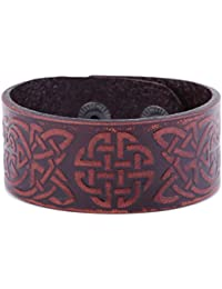 fishhook Vintage Punk Retro Slavic Viking Irish Celtic Love Knotwork Symbol Double-Clasp Leather Bracelet