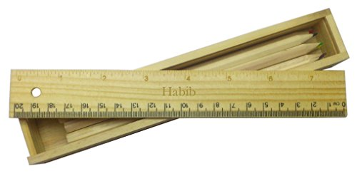 coloured-pencil-set-with-engraved-wooden-ruler-with-name-habib-first-name-surname-nickname