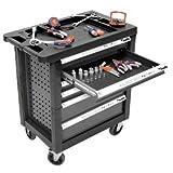 kwb Werkstattwagen 375400 (bestückter Werkzeugwagen mit 129 Teilen, Anti-Rutsch-Einlage in den Schubladen, Schubladen komplett ausziehbar)