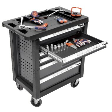 Mit Rollen Auf Schubladen Werkzeugkasten (kwb Werkstattwagen 375400 (bestückter Werkzeugwagen mit 129 Teilen, Anti-Rutsch-Einlage in den Schubladen, Schubladen komplett ausziehbar))