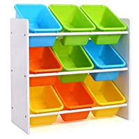 Homfa Toy Storage Unit Wooden Storage Toy Boxes with 9 Plastic Bins Boxes for Children Room Multicolor