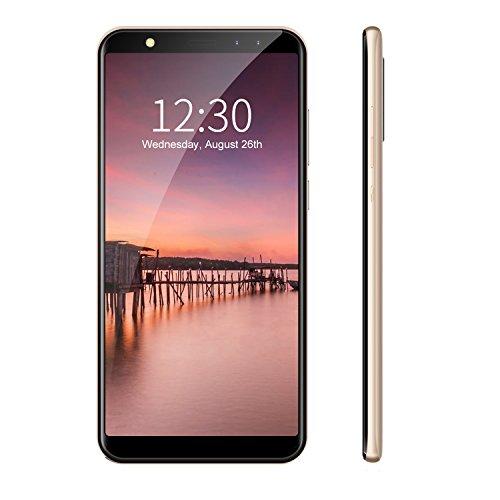 Leagoo M9 - Smartphone 3G Libre (Pantalla 5,5 pulgadas HD, Android 7.0, 2GB RAM + 16GB ROM, MT6580A Quad Core 1.3GHz, Cuatro Cámaras: Frontera 5+2MP, Trasera 8+2MP, Batería 2850mAh), Oro